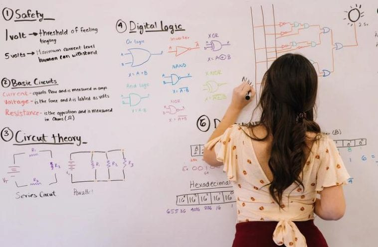 A teaching assistant explains a topic on a whiteboard