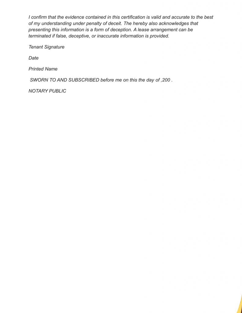 Sample #1 for Income Affidavit For Tax Purposes