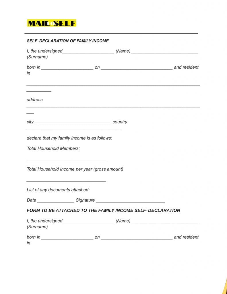 Sample #4 for Income Affidavit For Tax Purposes