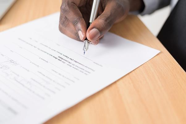 Signing the Certificate of Deposit