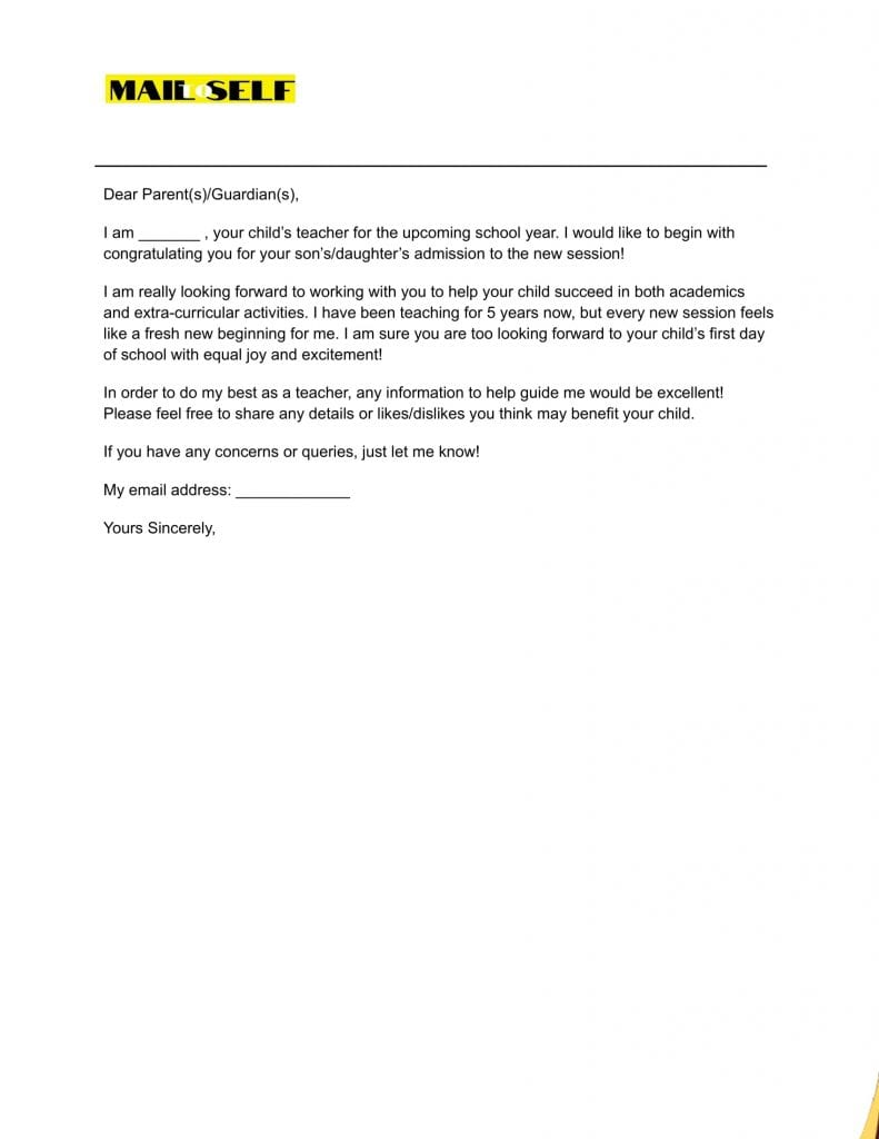Sample #2 for First Day of School Letter to Parents