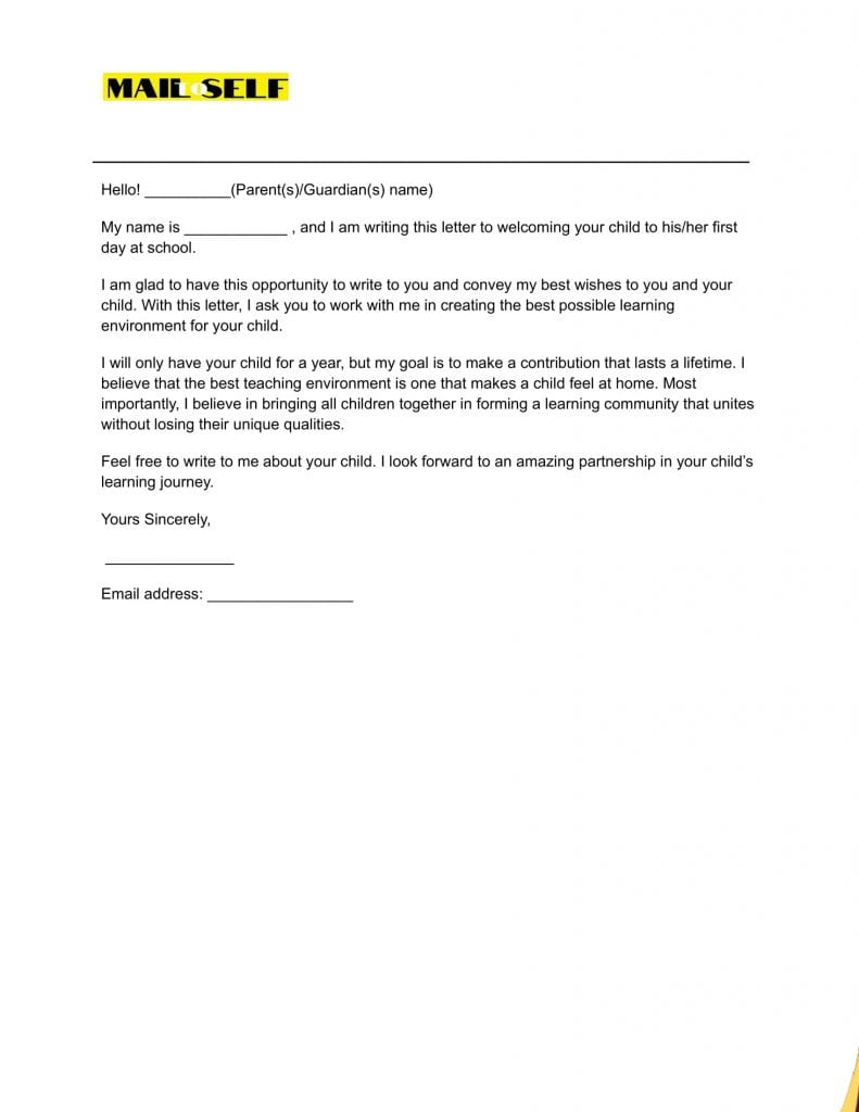 Sample #3 for First Day of School Letter to Parents