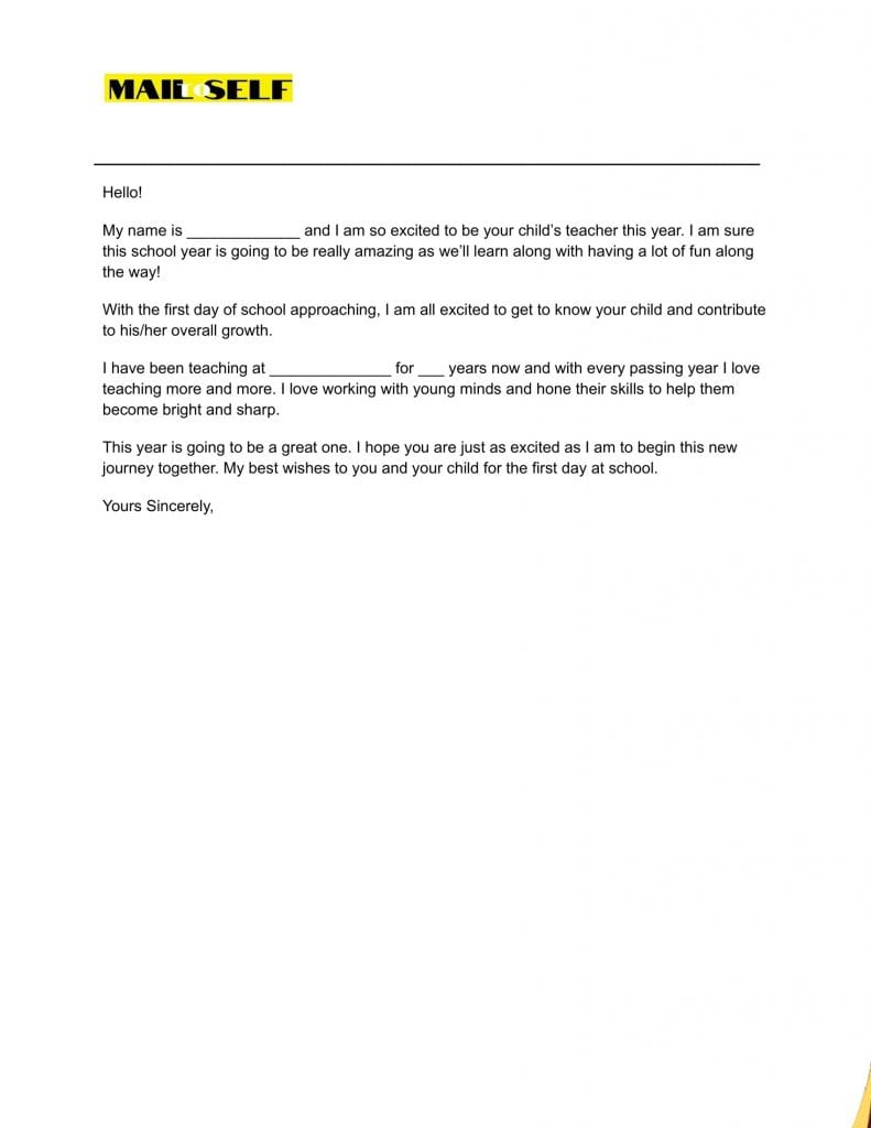 Sample #4 for First Day of School Letter to Parents