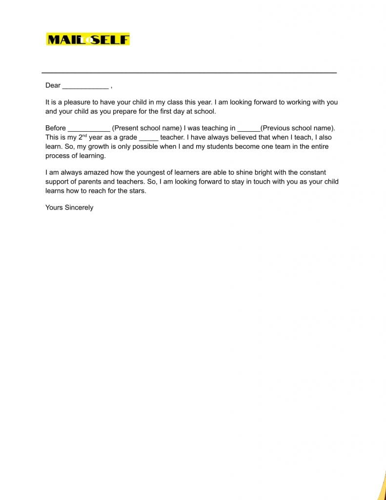 Sample #5 for First Day of School Letter to Parents