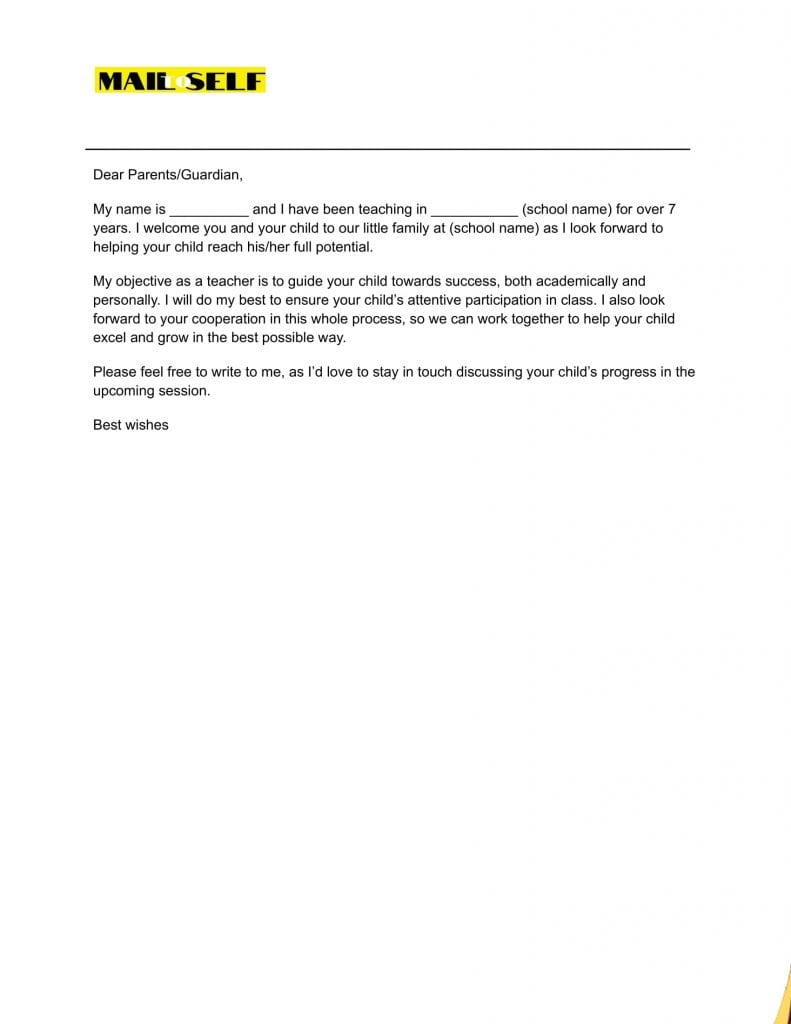 Sample #6 for First Day of School Letter to Parents