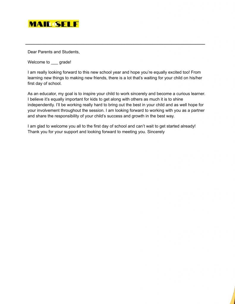 Sample #8 for First Day of School Letter to Parents