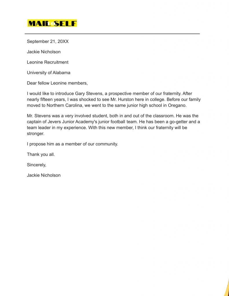 Sample #1 for Fraternity Letter Of Recommendation