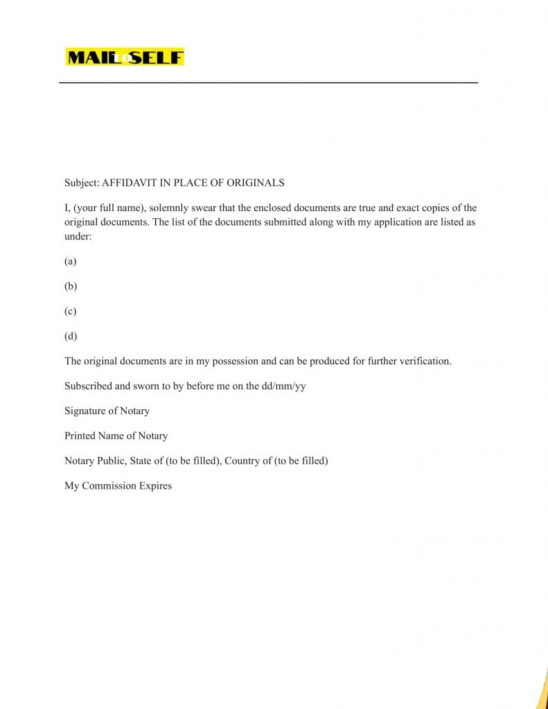Sample # 1 How to Draft an Affidavit in Lieu of Originals to be Notarized