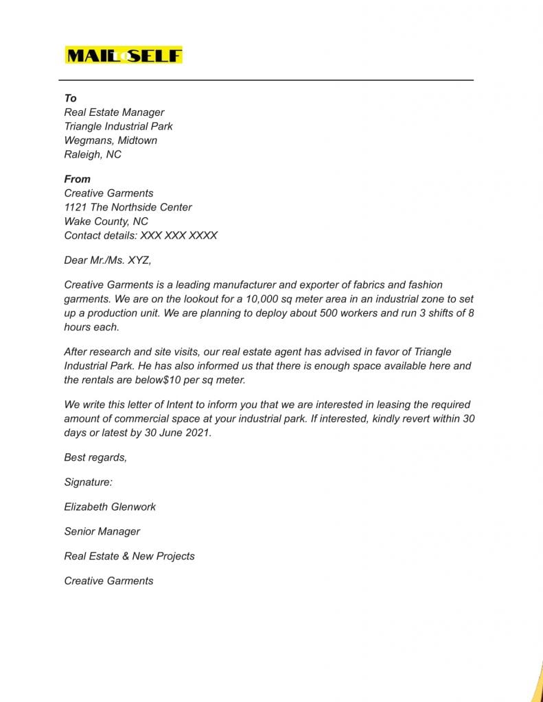 Sample #2 for Letter Of Intent To Lease Commercial Property