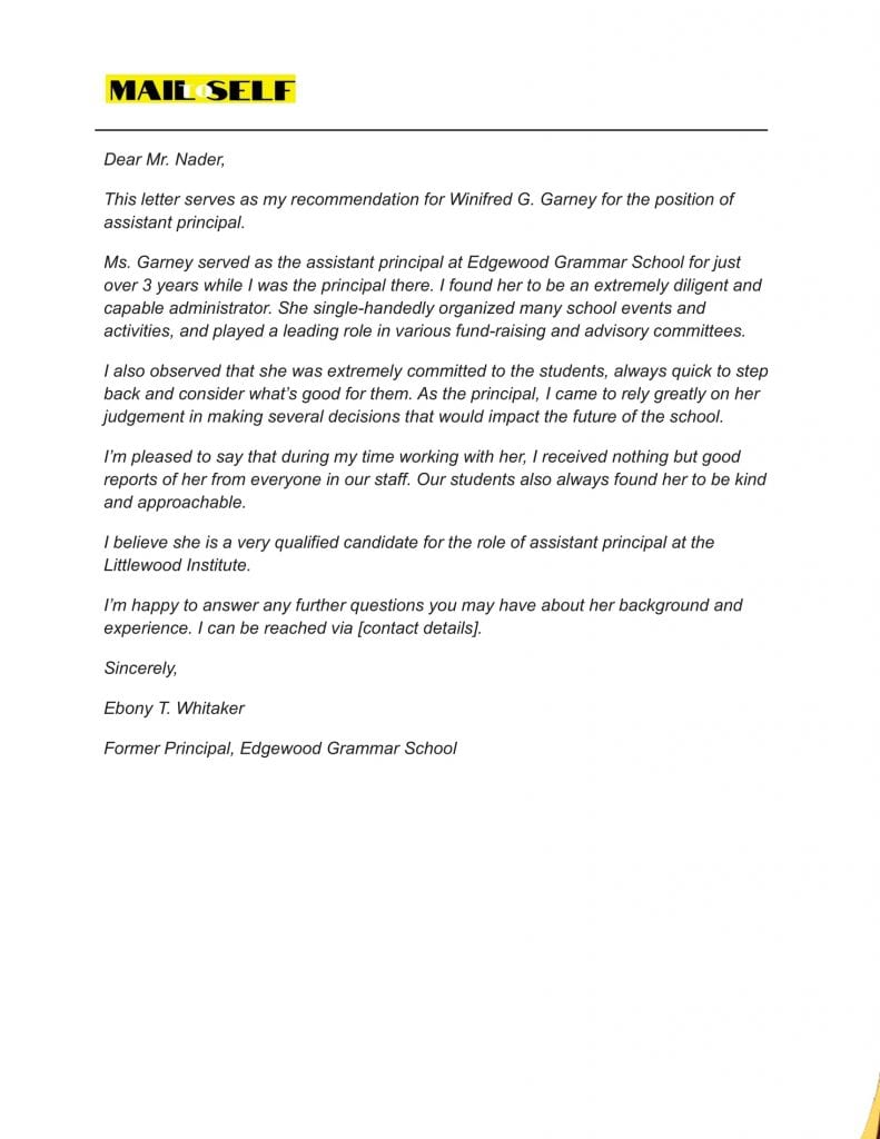 Sample #1 for Letter Of Recommendation For Assistant Principal