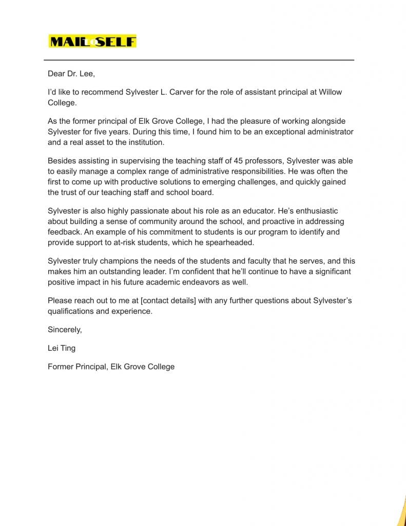 Sample #3 for Letter Of Recommendation For Assistant Principal