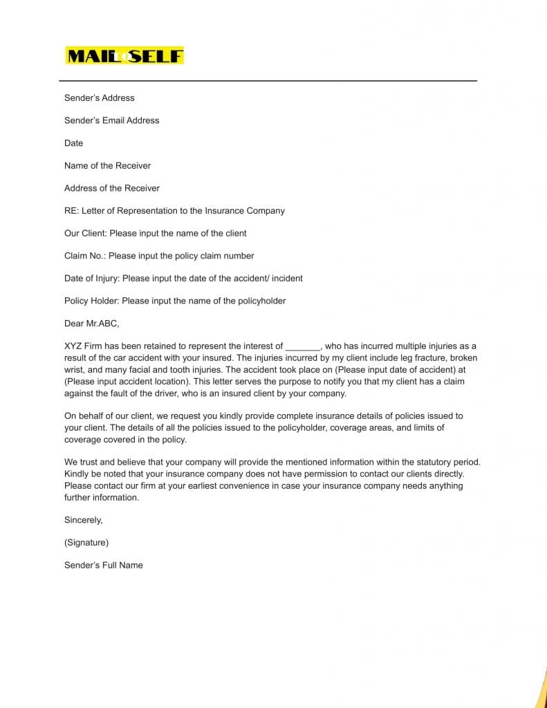 Sample #1 Letter Of Representation To An Insurance Company