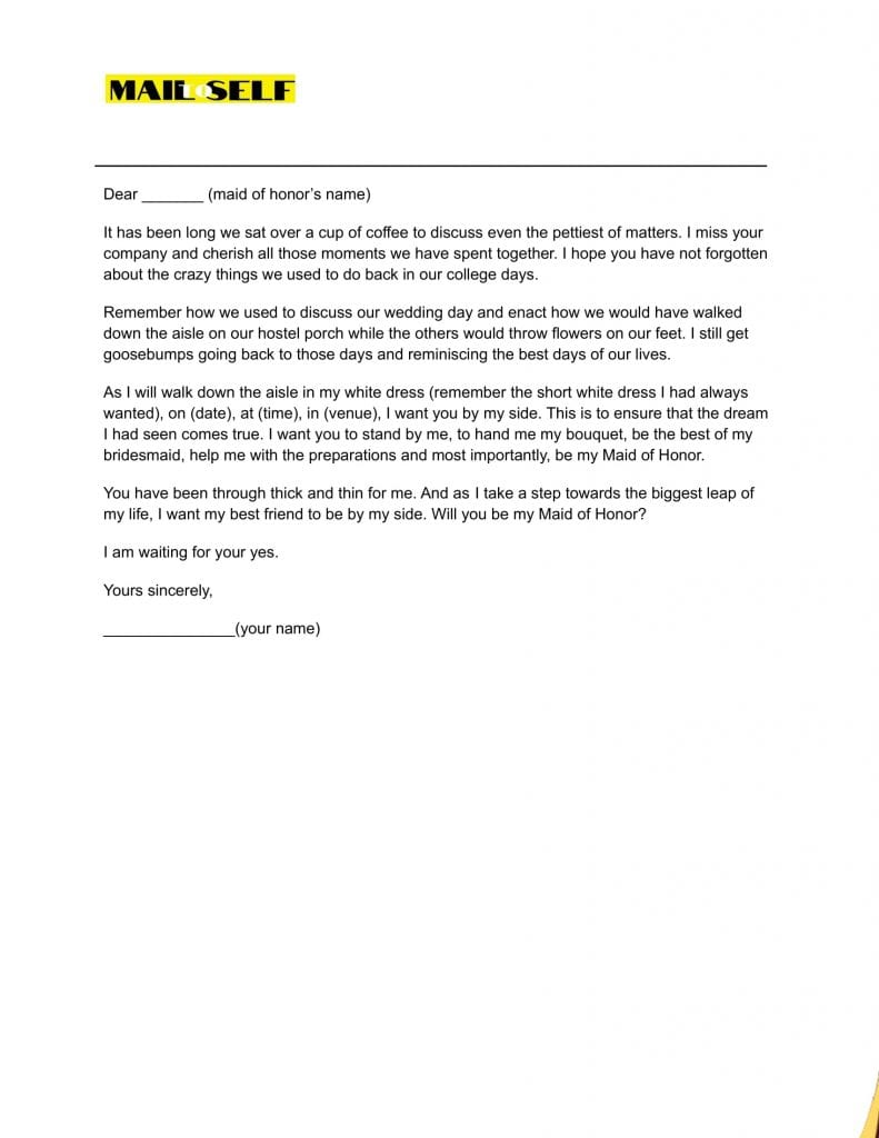 Sample 2 for Maid of honor letter