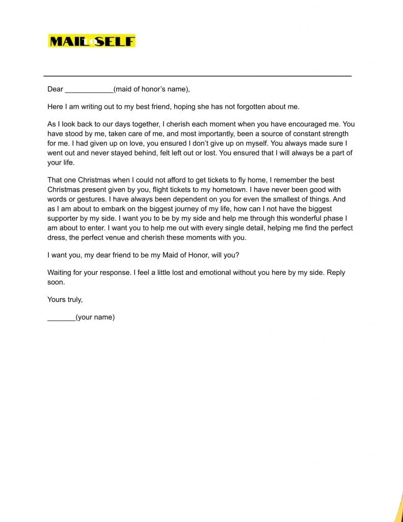 Sample 3 for Maid of honor letter