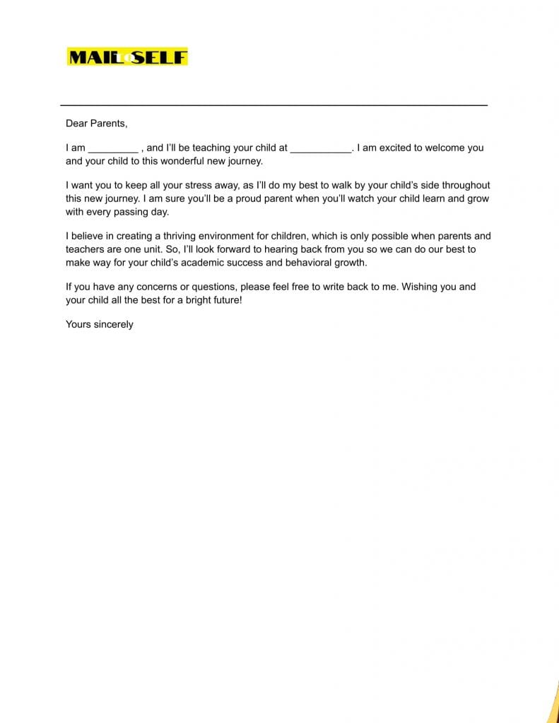 Sample #7 for First Day of School Letter to Parents