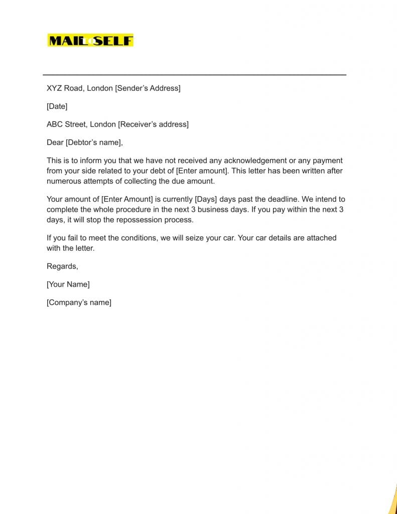 Sample #1 for Notice of Repossession Letter