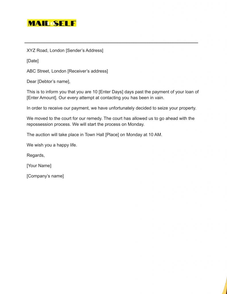 Sample #2 for Notice of Repossession Letter