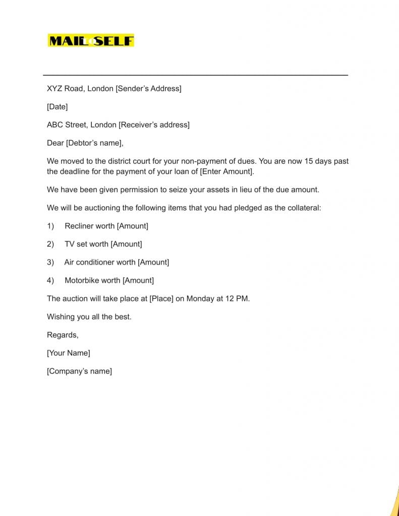 Sample #3 for Notice of Repossession Letter