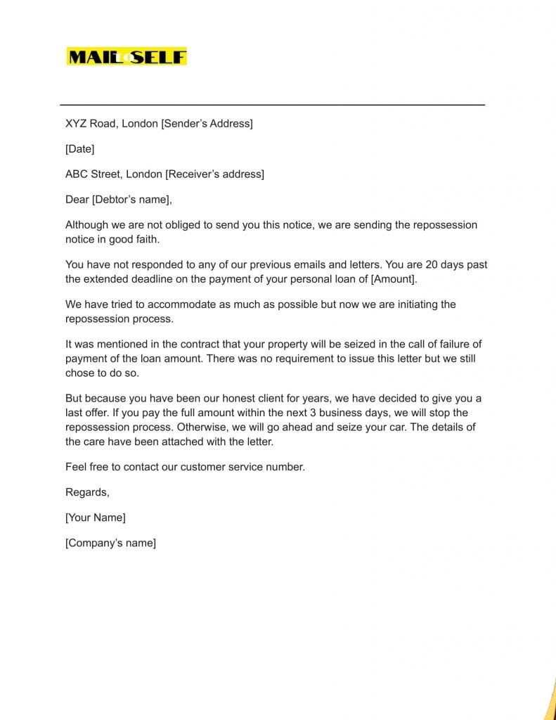 Sample #4 for Notice of Repossession Letter