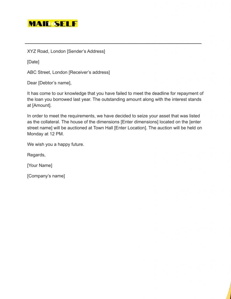 Sample #5 for Notice of Repossession Letter