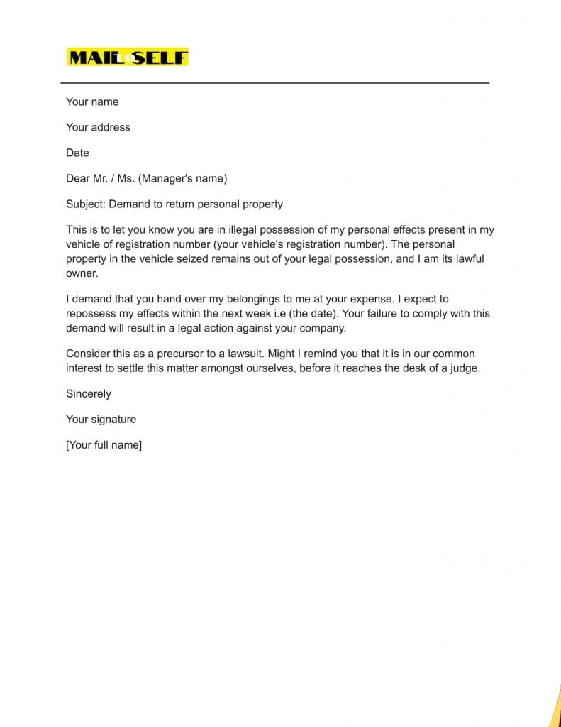 Sample #4 for Powerful Demand Letter for Return of Personal Property