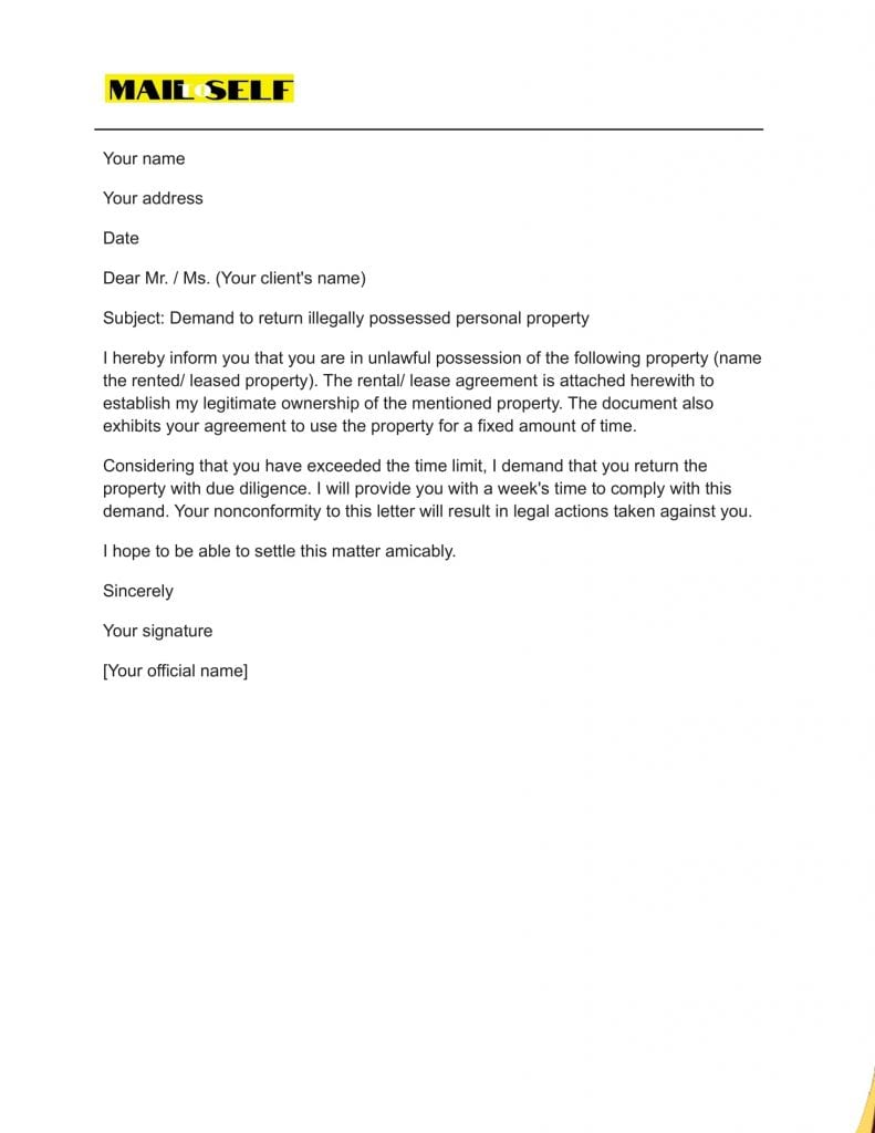 Sample #7 for Powerful Demand Letter for Return of Personal Property