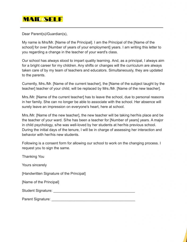 Sample for Principal Letter to Parents about Teacher Change