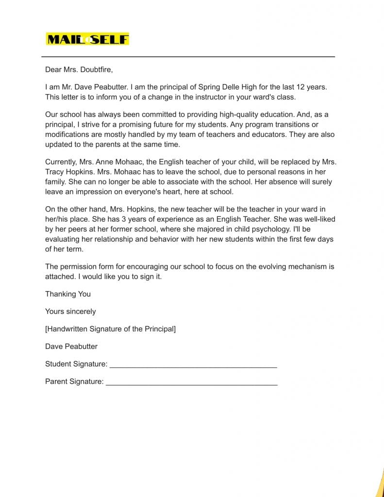Sample #1 for Principal Letter to Parents about Teacher Change