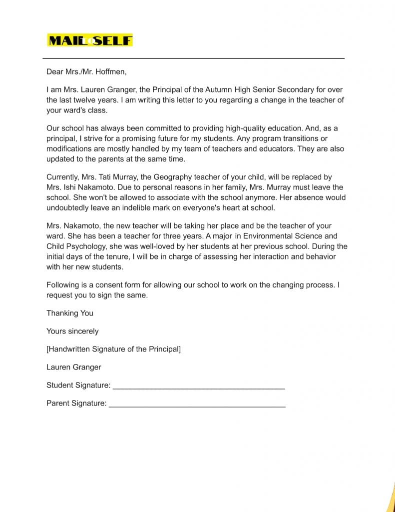 Sample #5 for Principal Letter to Parents about Teacher Change