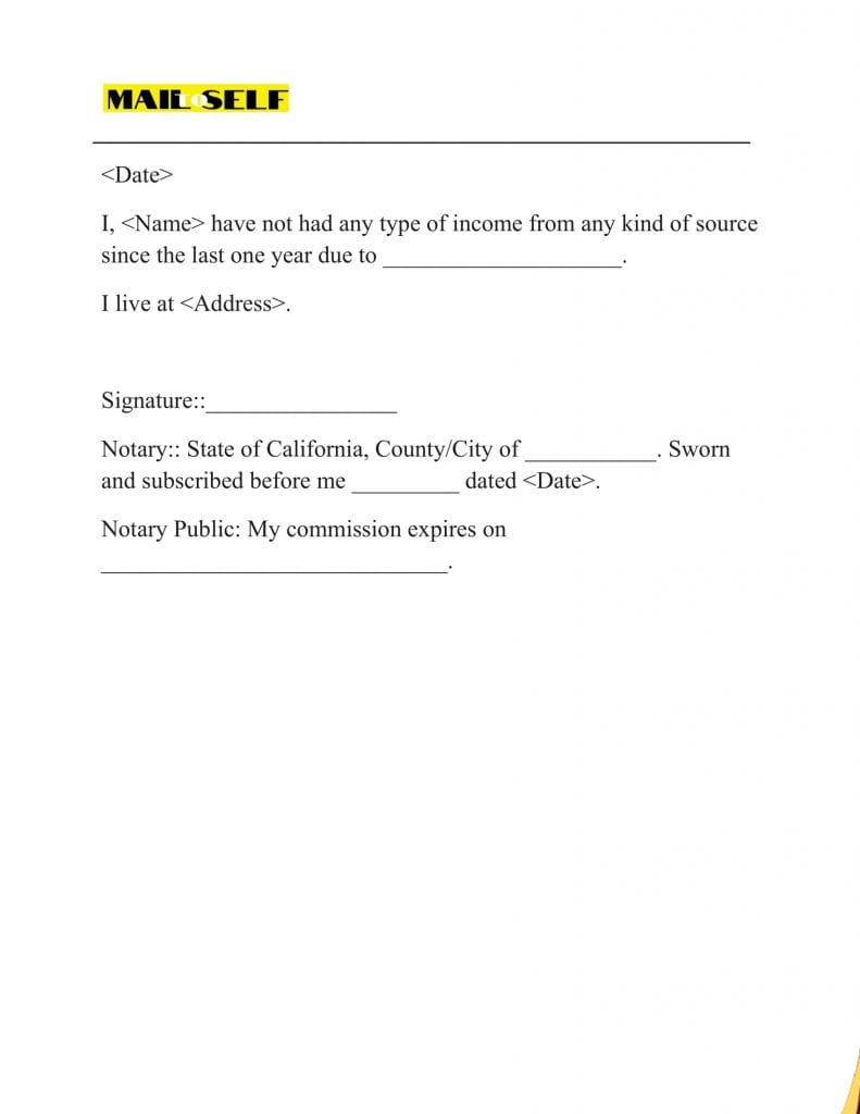 Sample # 5 Proof of No Income Letter Samples for Tax Exemption Purposes