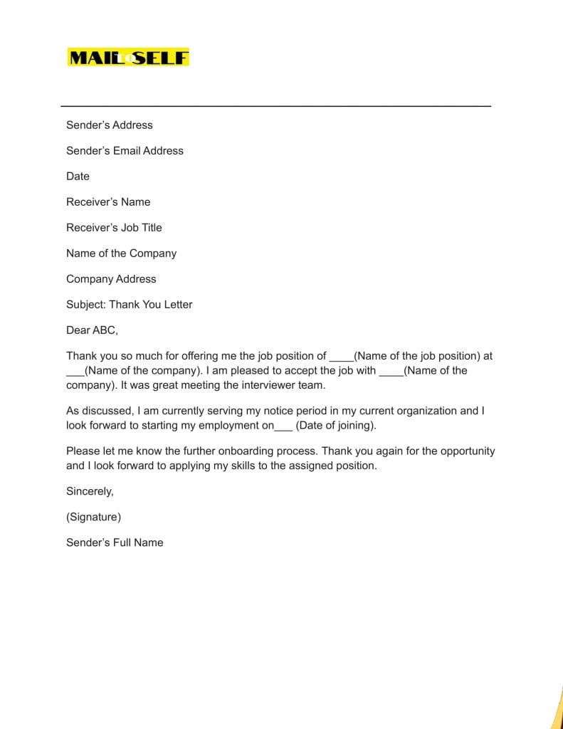 Sample #1 for Thank You Cover Letter