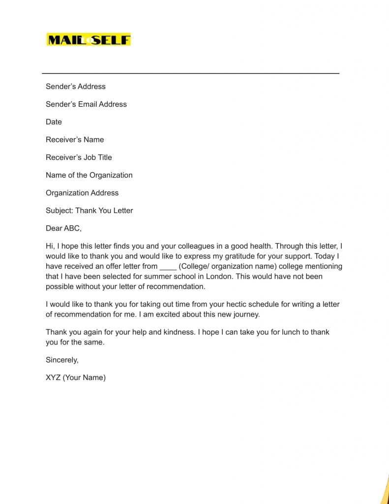 Sample #7 for Thank You Cover Letter
