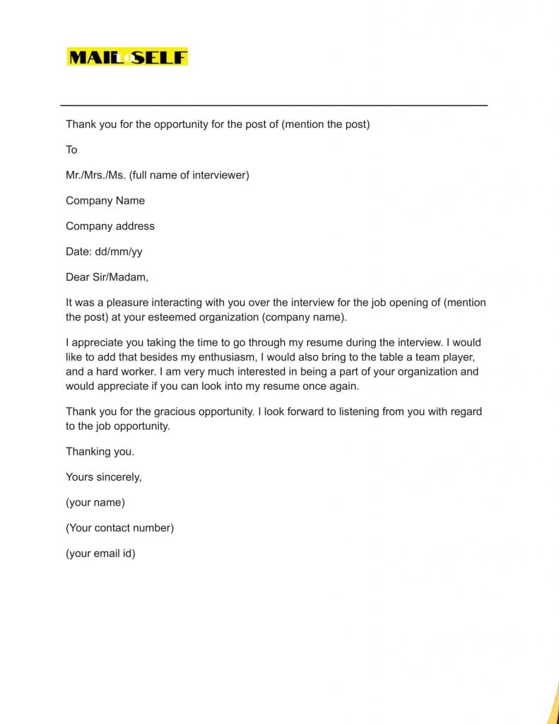 Sample #1 for Thank You Letter After A Bad Interview