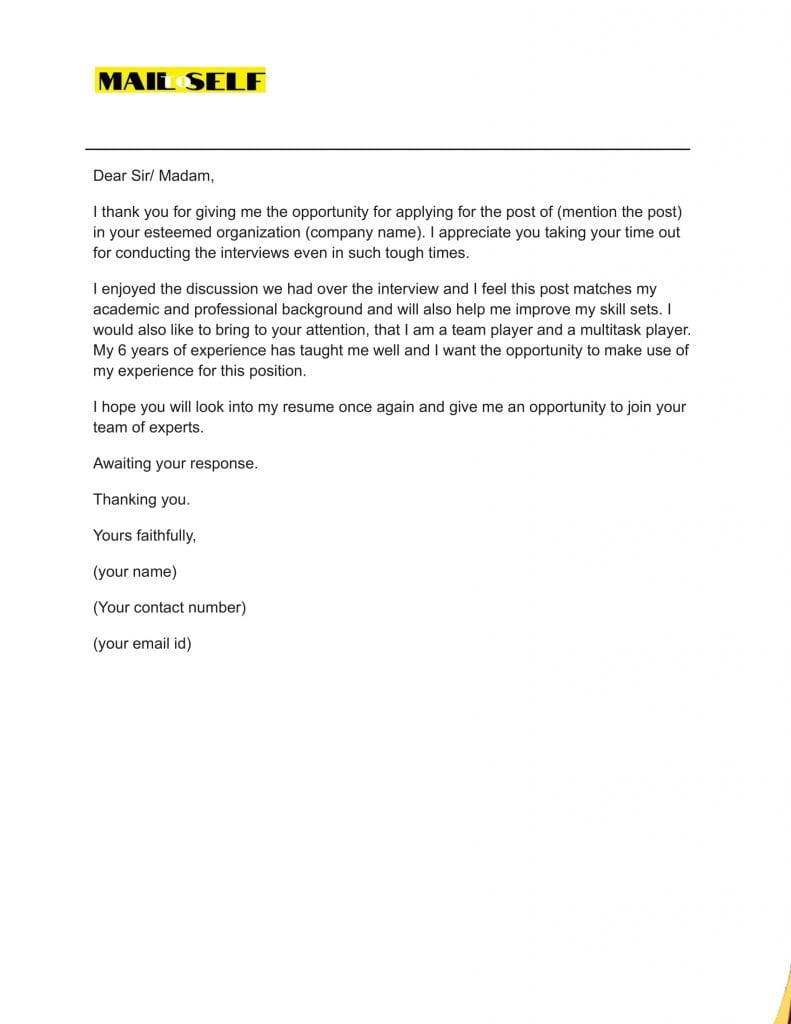 Sample #2 for Thank You Letter After A Bad Interview