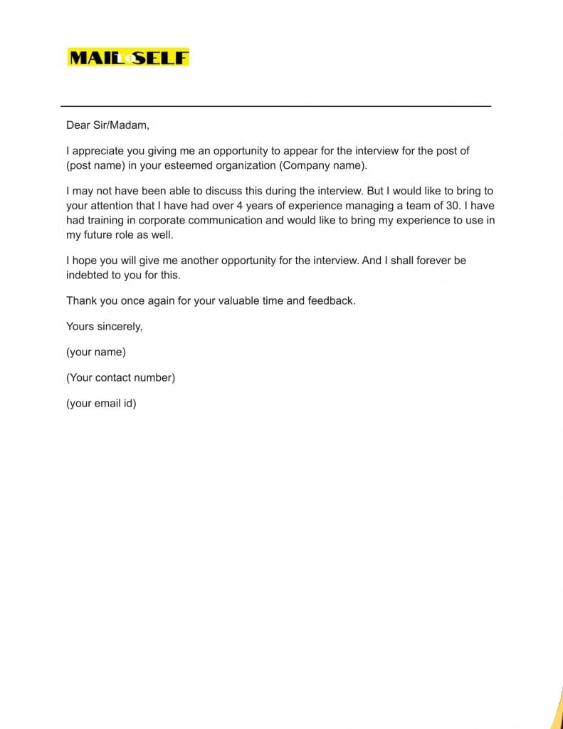 Sample #3 for Thank You Letter After A Bad Interview