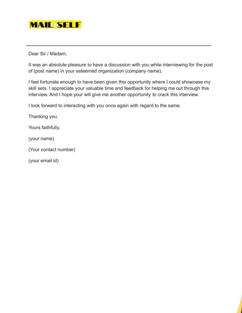 Sample #4 for Thank You Letter After A Bad Interview