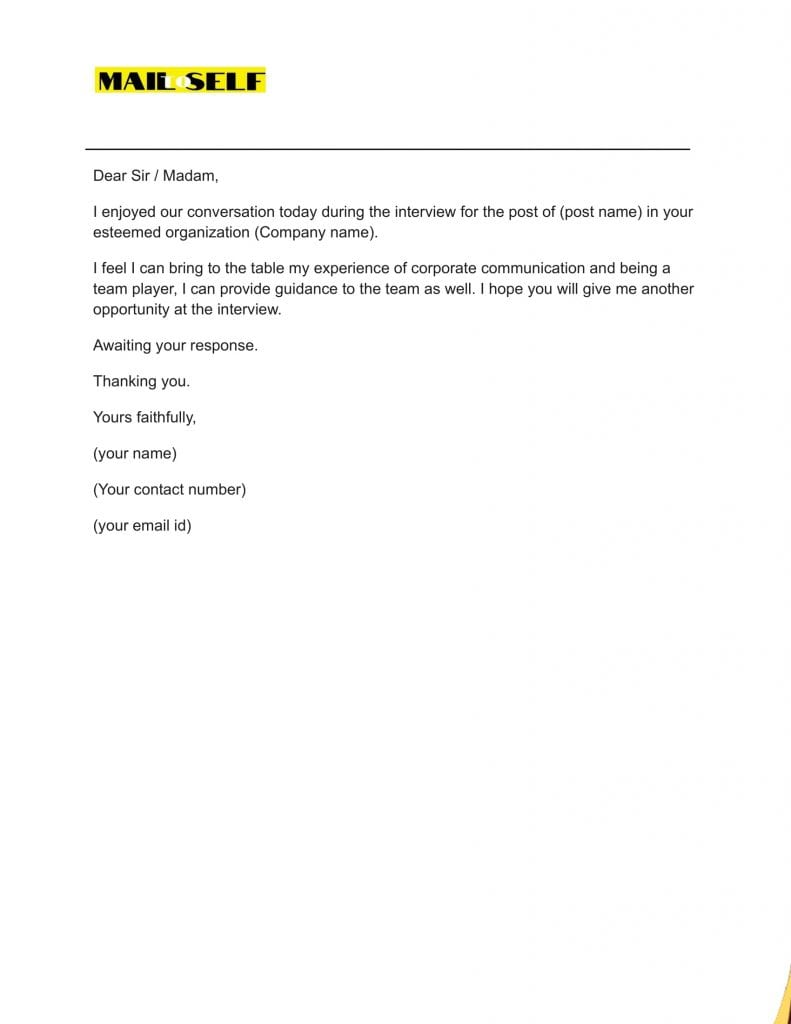 Sample #5 for Thank You Letter After A Bad Interview