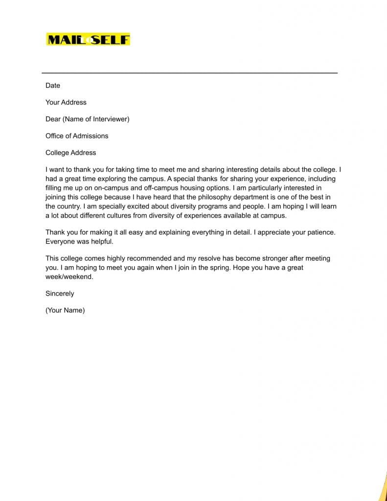 Sample #1 Thank You Letter After College Interview