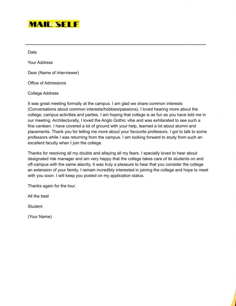 Sample #2 Thank You Letter After College Interview