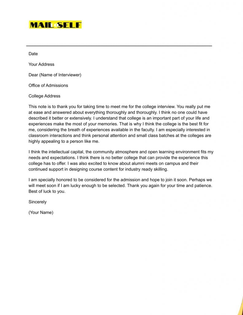 Sample #3 Thank You Letter After College Interview