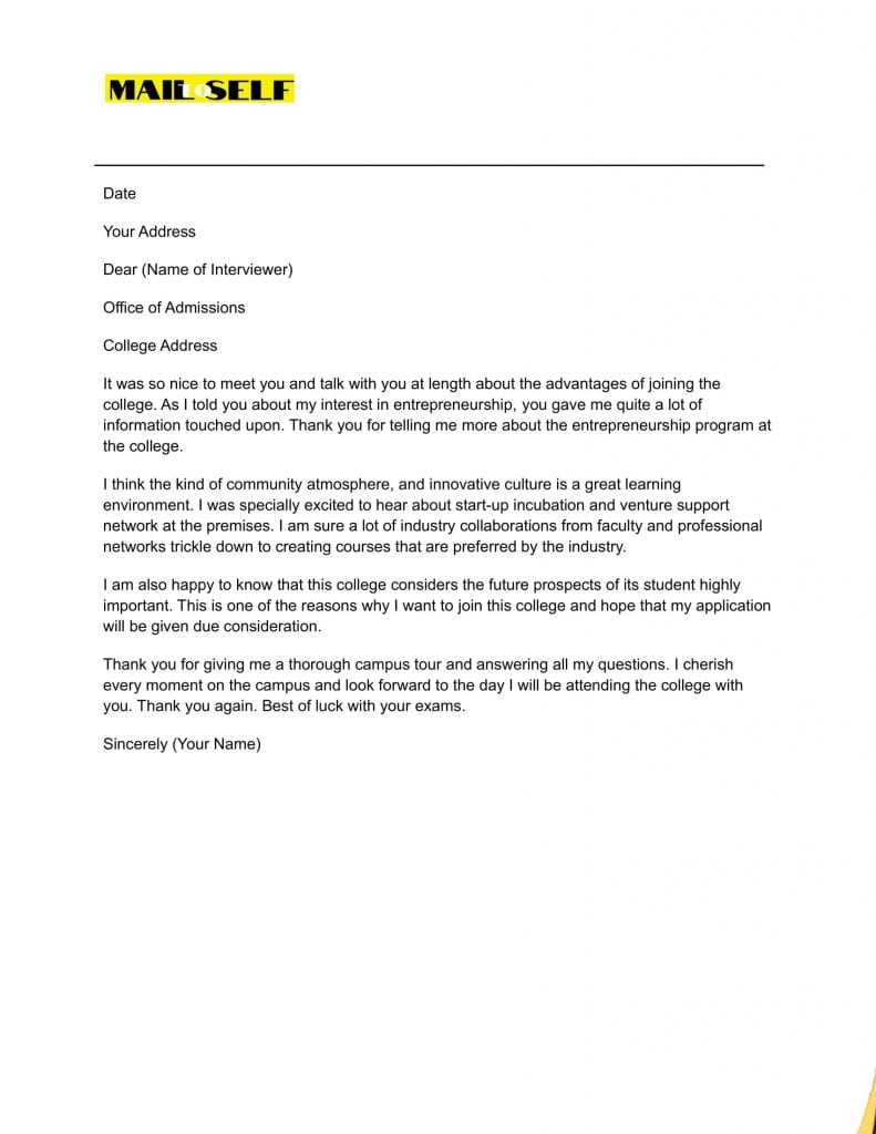 Sample #5 Thank You Letter After College Interview