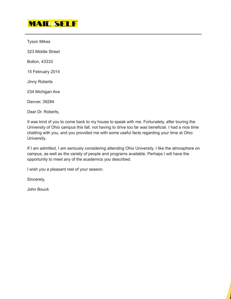 Sample #5 for Thank You Letter After Graduate School Interview