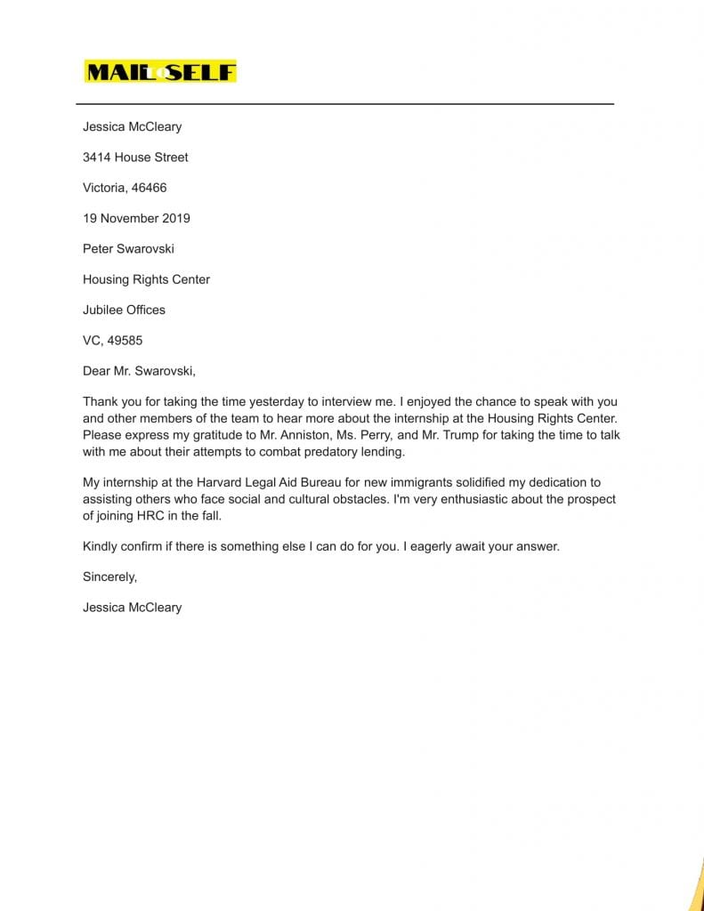 Sample #7 for Thank You Letter After Graduate School Interview