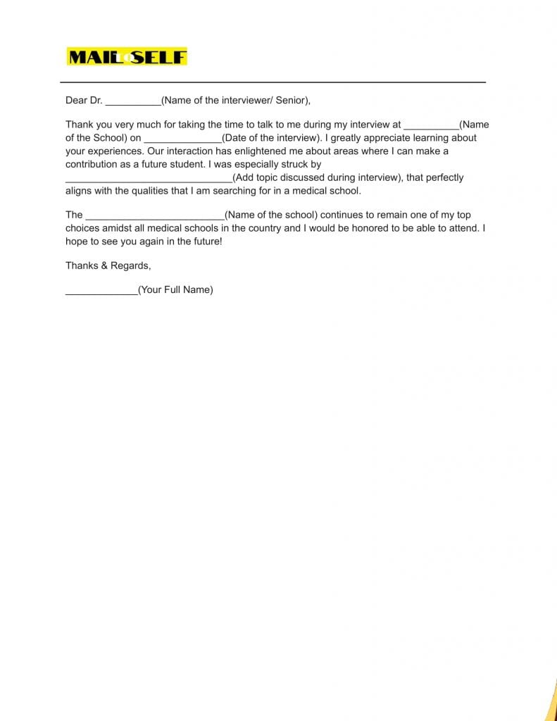 Sample #2 for Thank You Letter After Medical School Interview