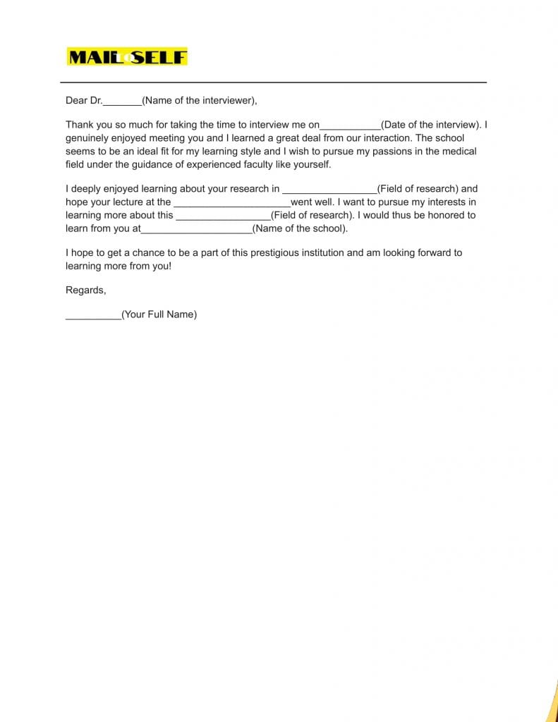 Sample #4 for Thank You Letter After Medical School Interview