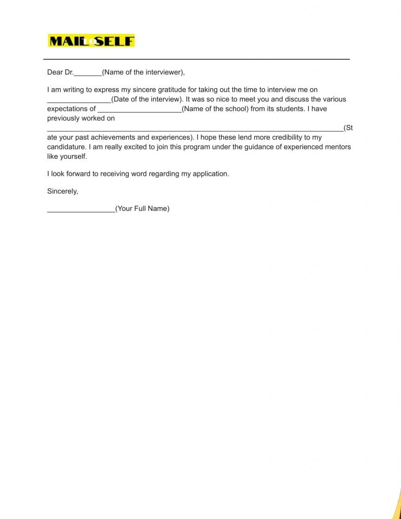 Sample #5 for Thank You Letter After Medical School Interview