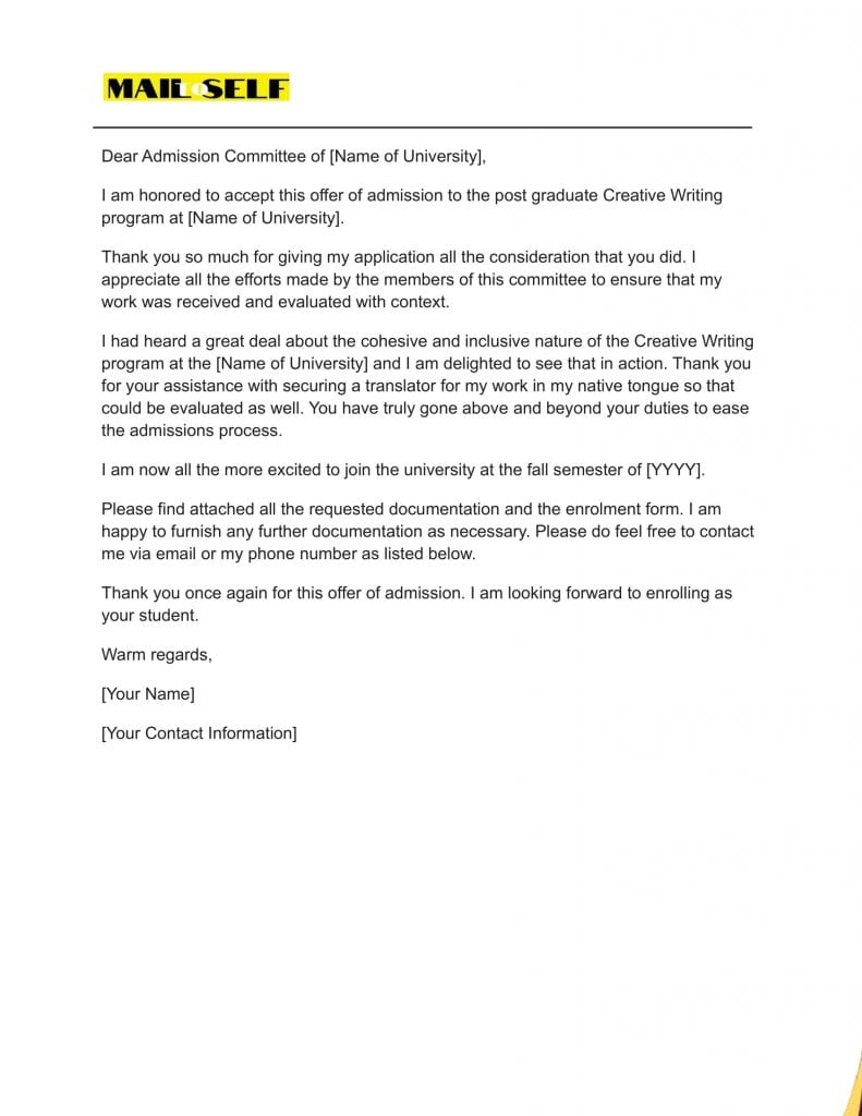 Sample #5 for Thank You Letter For Admission Acceptance
