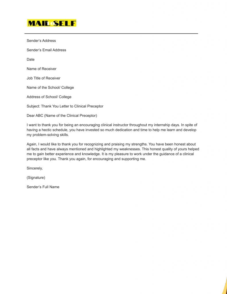 Sample #1 Thank You Letter To Clinical Preceptor