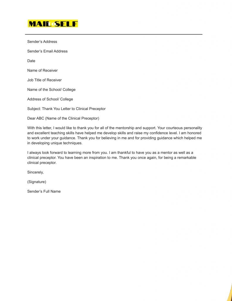 Sample #2 Thank You Letter To Clinical Preceptor