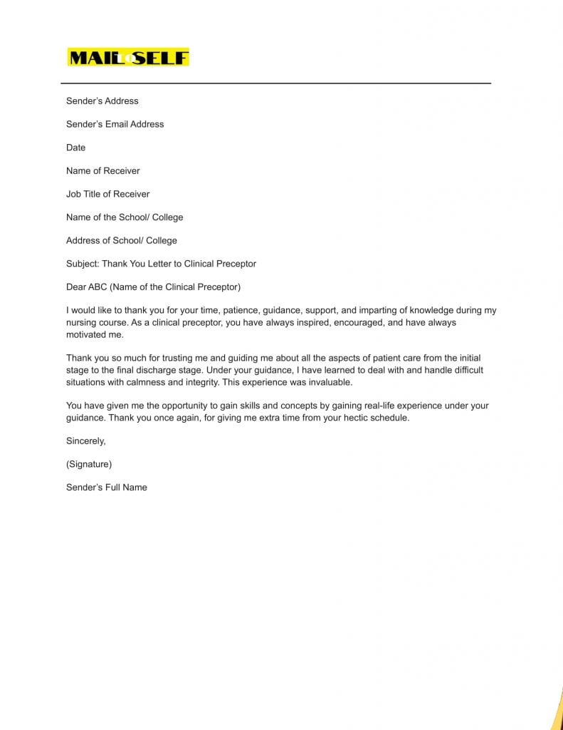 Sample #3 Thank You Letter To Clinical Preceptor